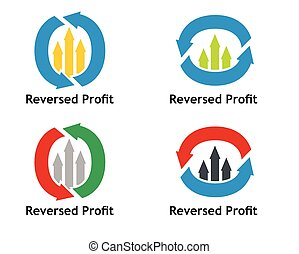 Financial concept Reversed profit sign with arrows