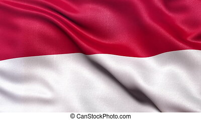 Indonesia flag seamless loop - Realistic flag of Indonesia...