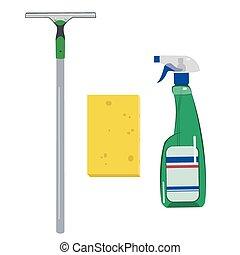 Detergents,sponge and scraper