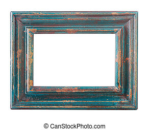 empty old wood painted frame