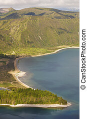 Azores landscape with lake Lagoa do Fogo, Sao Miguel...
