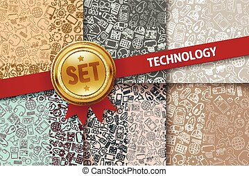Set of technology backgrounds with doodle icons in different...