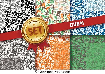 Set of Dubai backgrounds with doodle icons in different colors
