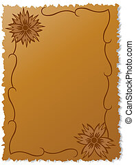 Flowers on writing-book sheet and curled lines. Vector draw
