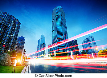 China Shanghai Urban Landscape - The light trails on the...