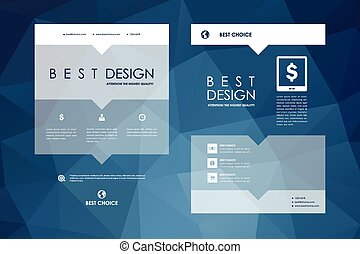 Set of brochure, poster design templates in polygonal style...