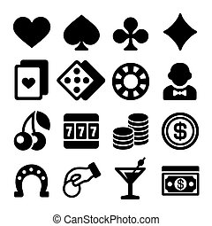 Gambling Casino Icons Set on White Background. Vector