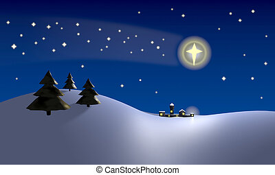 Star of Bethlehem - Christmas scene with the star of...