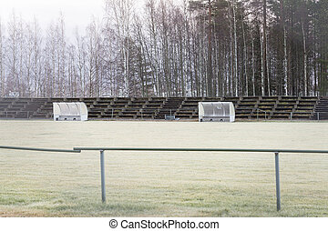 Soccer Pitch Substitution Booths in late autumn