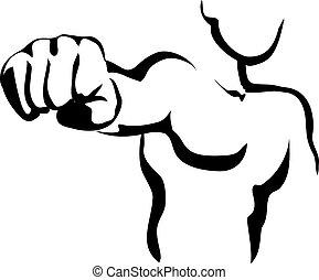 Vector Line Art Fist - Vector Line Contour Graphic Art Fist...
