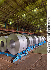 Cold rolled steel coils in steel plant