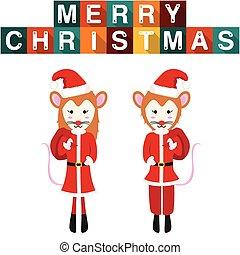 Rat Santa Claus Girl Boy Vector Illustration