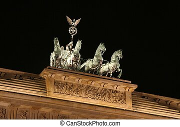 Quadriga At Night - quadriga close up shot at brandenburg...