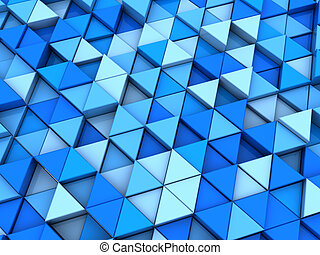 blue triangels background - abstract 3d illustration of blue...