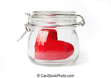 Red heart in a jar