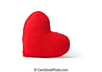 Red fleece heart - Little red handsewn fleece heart,...