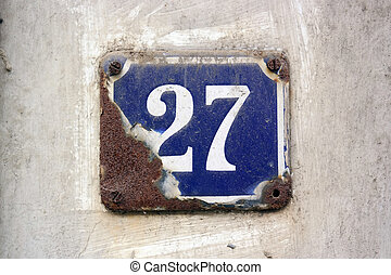 House number 27 sign - Weatherworn House Numbers...