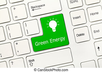 White conceptual keyboard - Green Energy (key with lamp icon)