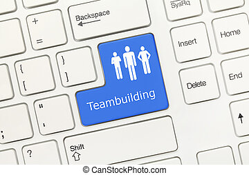 White conceptual keyboard - Teambuilding blue key - Close-up...