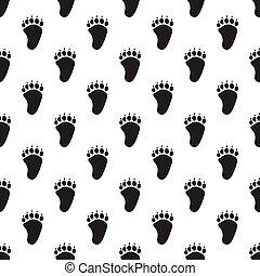 Animal paw seamless pattern
