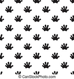 Animal paw seamless pattern Opossum black paw