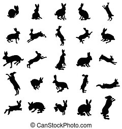 Rabbit silhouettes set