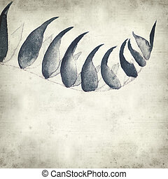textured old paper background with watercolor paint fern...