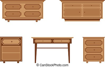 furniture - set of wooden tables and nightstands