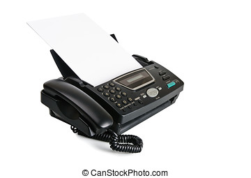 Fax machine with document isolated over white background