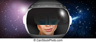 Astronaut woman with helmet