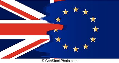 Union Jack and EU Blend - Flag of the European Union blended...