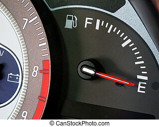 Empty gas tank - Close up of fuel meter...