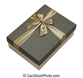 Gift box with gold ribbon isolated