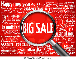 BIG SALE, Happy New Year in different languages red...