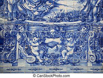 Blue tiles on a santa catarina chapel in Porto, Portugal