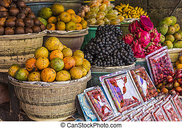 Open air fruit market in the village in Bali, Indonesia