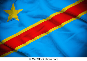 Democratic Republic of the Congo Flag - Wavy and rippled...