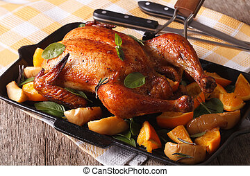 Baked chicken with orange and basil close-up on a pan....
