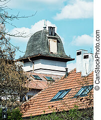 Roofs of old residential houses in the city