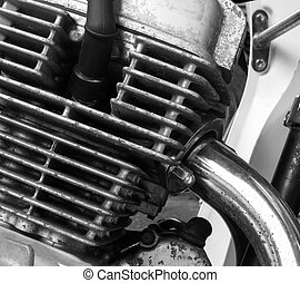 Motorcycle engine - Part of motorcycle engine with exhaust...