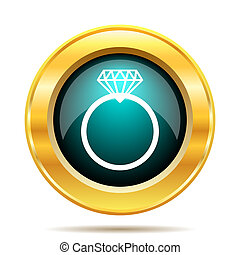 Diamond ring icon Internet button on white background