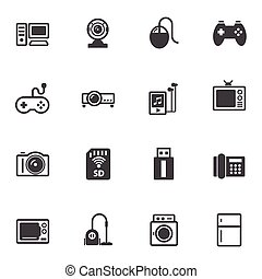 Home electronic Device icons set for internet marketing and...