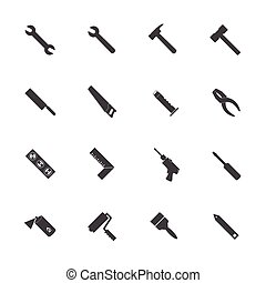 Construction equipment icons set. Vector icons