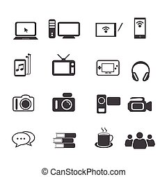 Big Data icon set, Entertainment