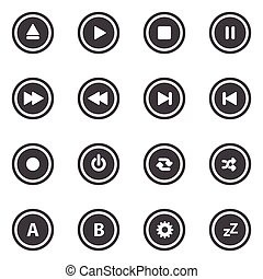Media player buttons Vector icons set