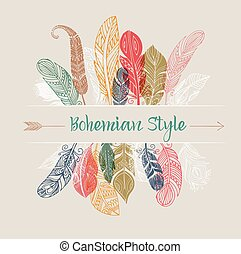 Bohemian style poster with gypsy colorful feathers -...