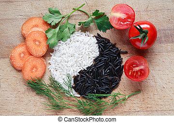 Yin Yang Rice Symbol - Yin Yang symbol made from black and...
