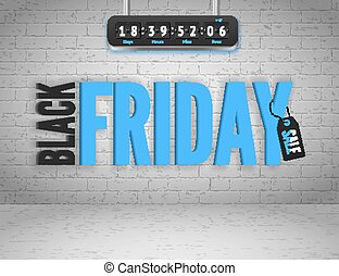 Black Friday banner with splashes of ink and shoppping tag...