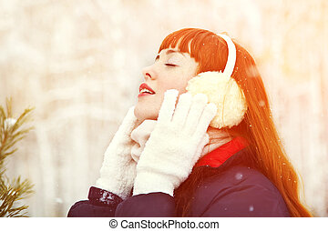 redhead winter woman - portrait of redhead woman on the...