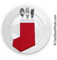 christmas dinner, table setting, napkin folded as a santa...